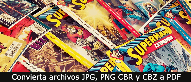 Convierta archivos JPG, PNG CBR y CBZ a PDF
