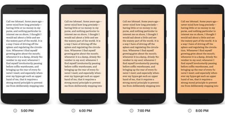 Opción de leer de noche en Google Play Books