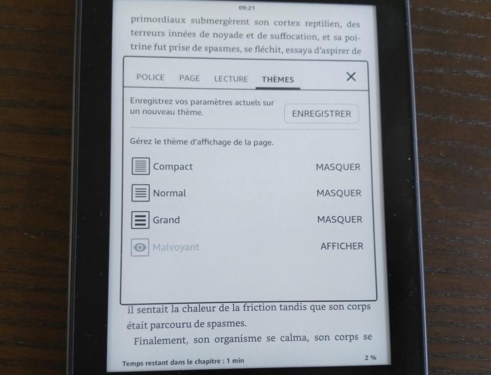 Prueba de Kindle Paperwhite: guardar configuraciones como temas