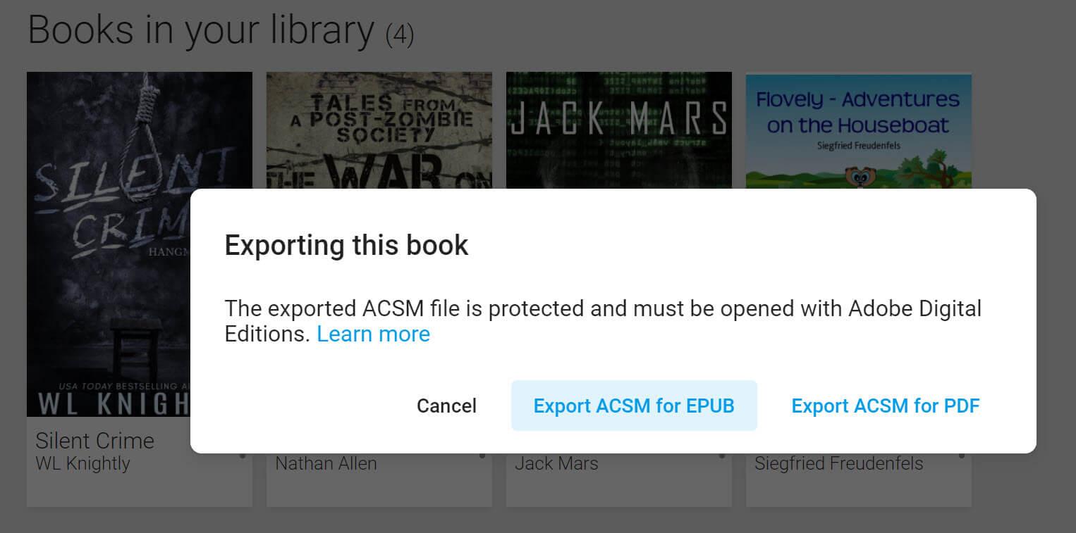 haga clic en exportar acsm para pdf para imprimir Google Play Books