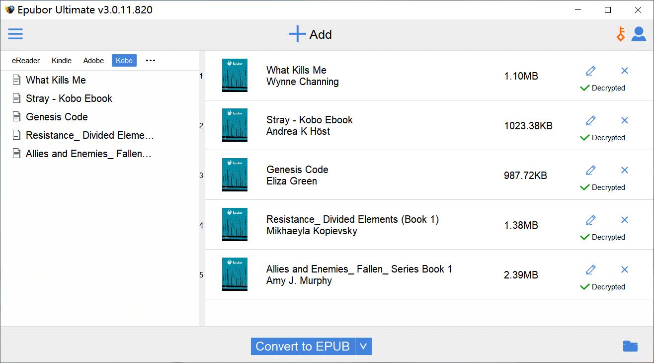 Convierte Kobo Desktop a EPUB