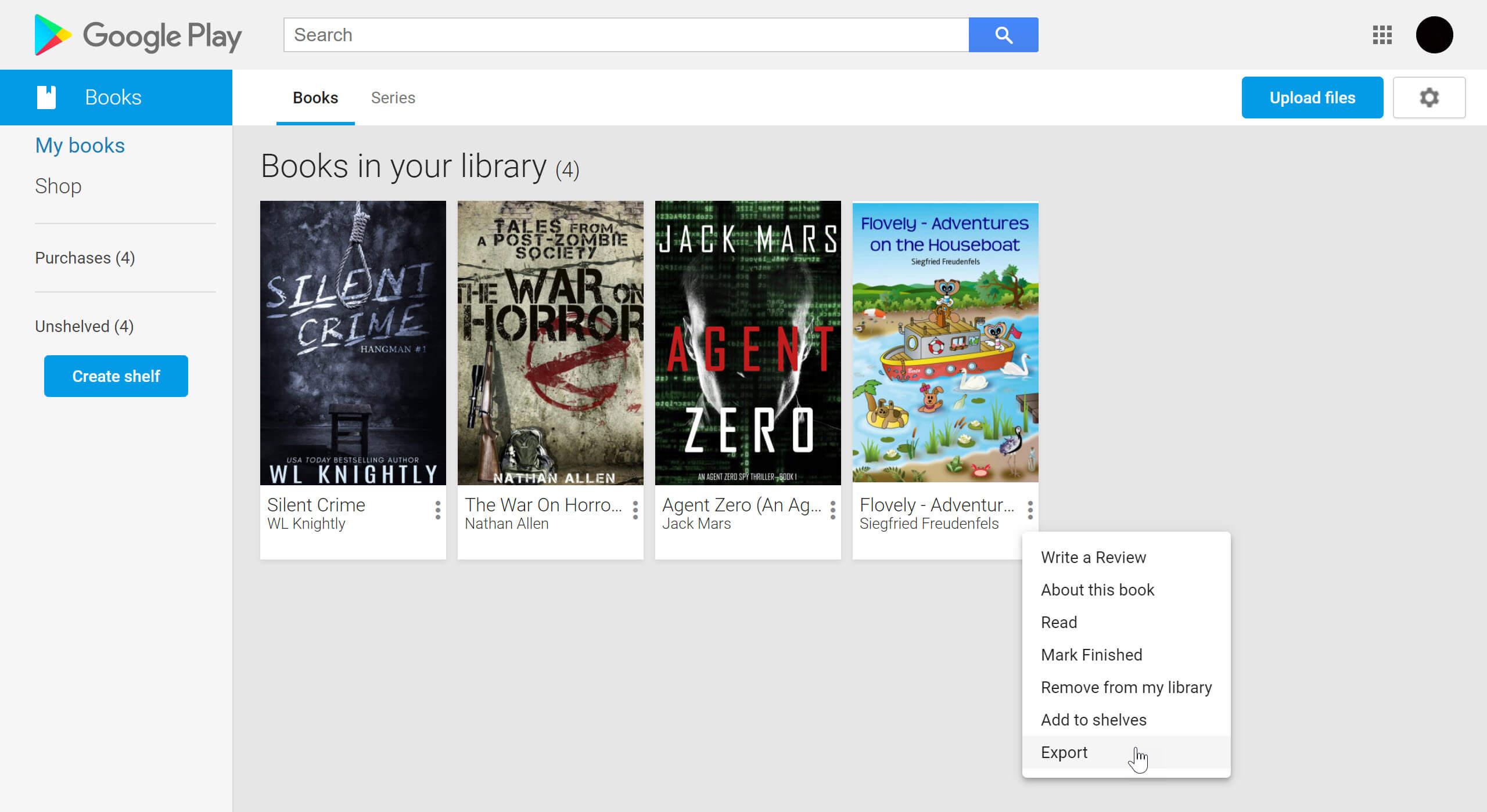 Exportar libros de Google Play Books