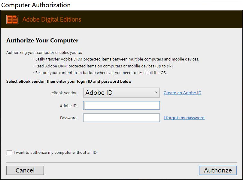 Cree un ID de autorización de la edición digital de adobe para abrir Google Play Books