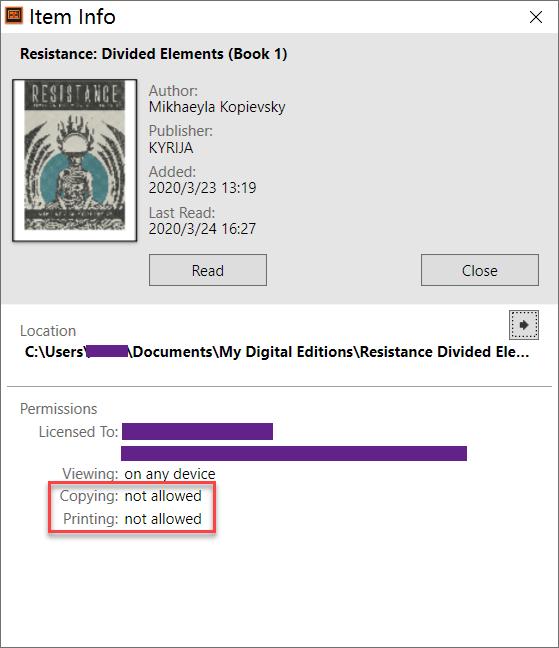 Información de elementos de Adobe Digital Editions