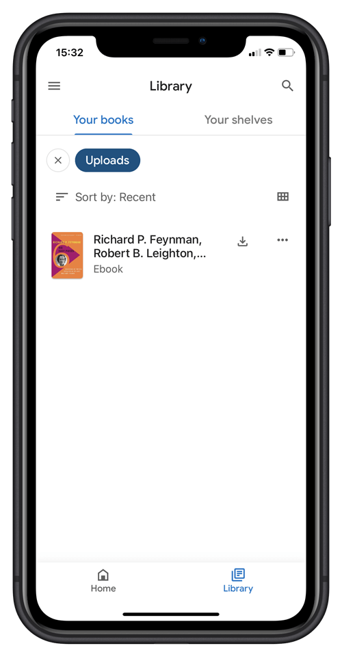 Leer los libros cargados en la aplicación Google Play Books para iPhone
