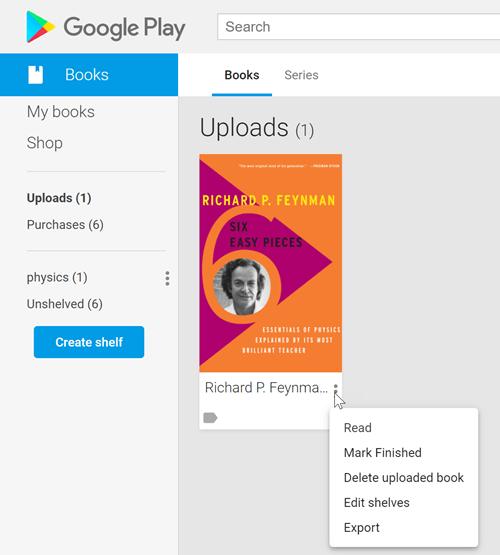 Configuración de libros cargados de Google Play