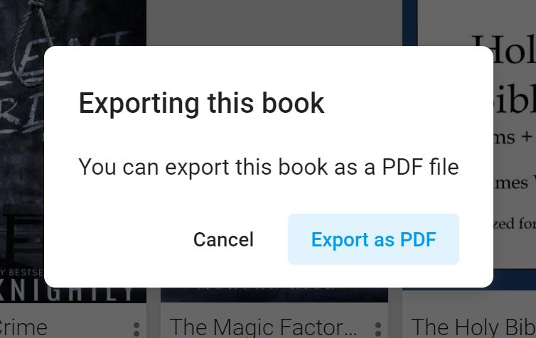 Exportar Google Play Books como PDF