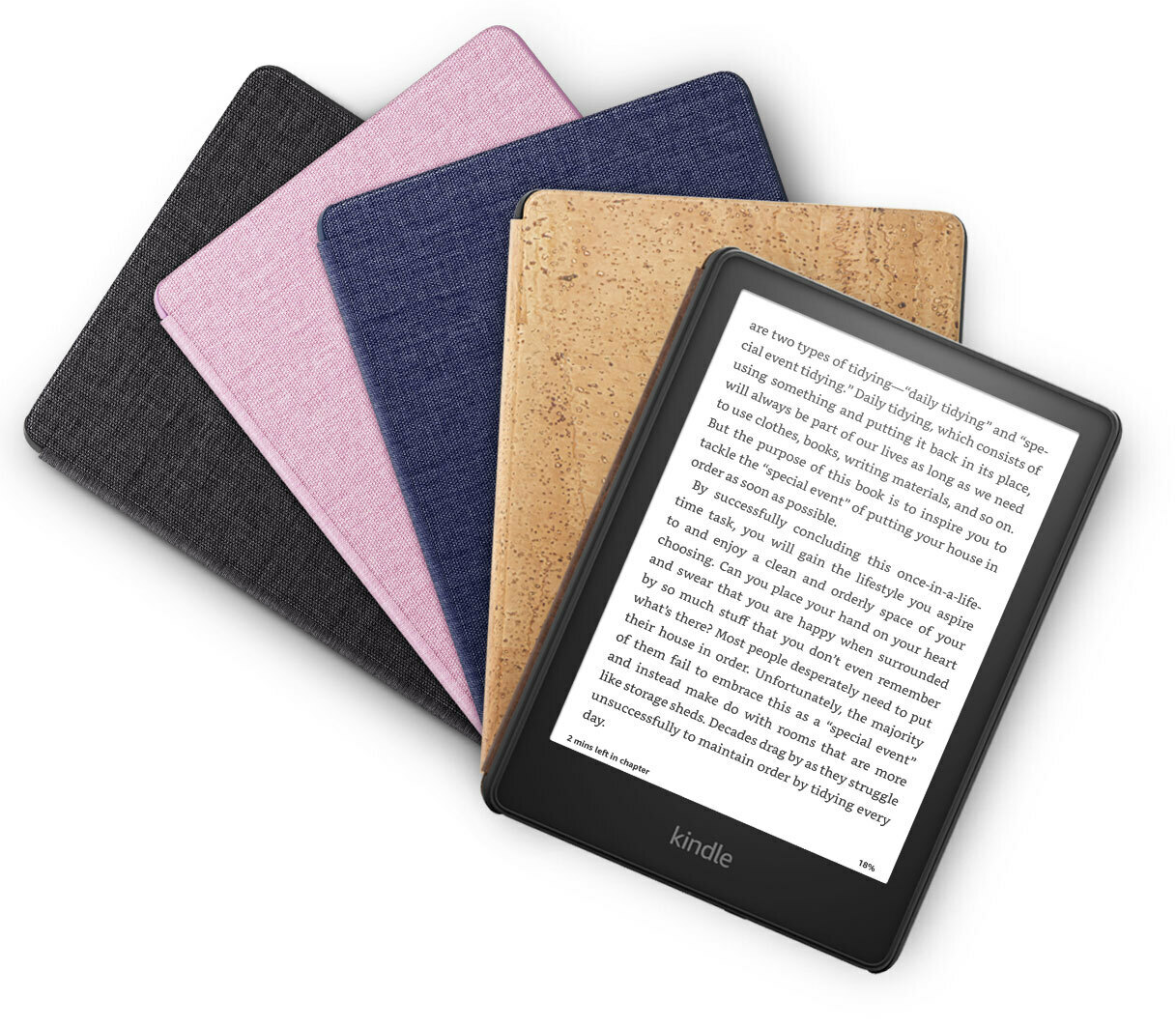 Kindle Paperwhites apilados en cajas multicolores